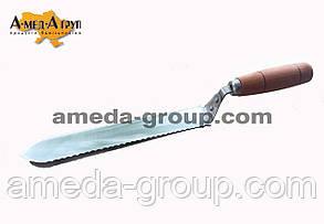 Нож пчеловодный зубчатый 205 мм нержавейка, фото 2