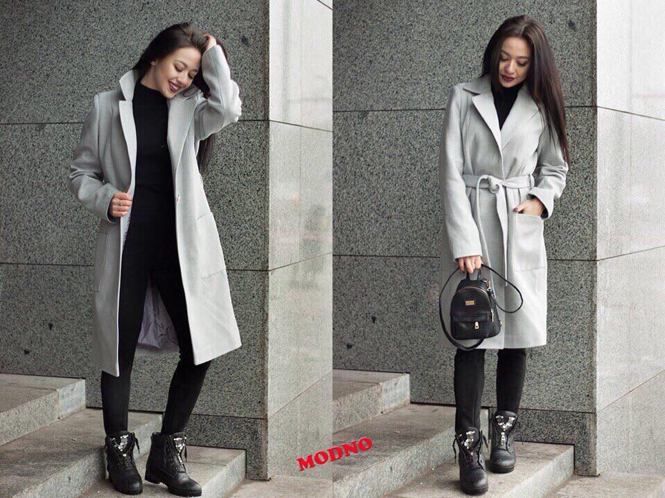Классическое кашемировое пальто миди под пояс r7102102
