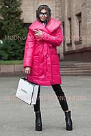 Стеганное плащевое женское пальто с объемным воротником r7102134, фото 1