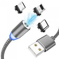 Магнитный кабель 3в1 для зарядки micro USB | Lightning | USB type C Magnetic USB Cable в оплётке