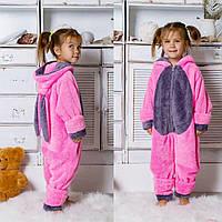 Дитяча махрова суцільна піжама з вушками