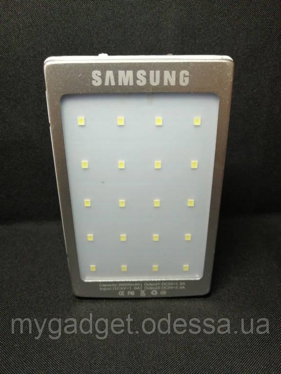 Power Bank Samsung 30000 mAh (Солнечная зарядка + LED фонарь) Серебро