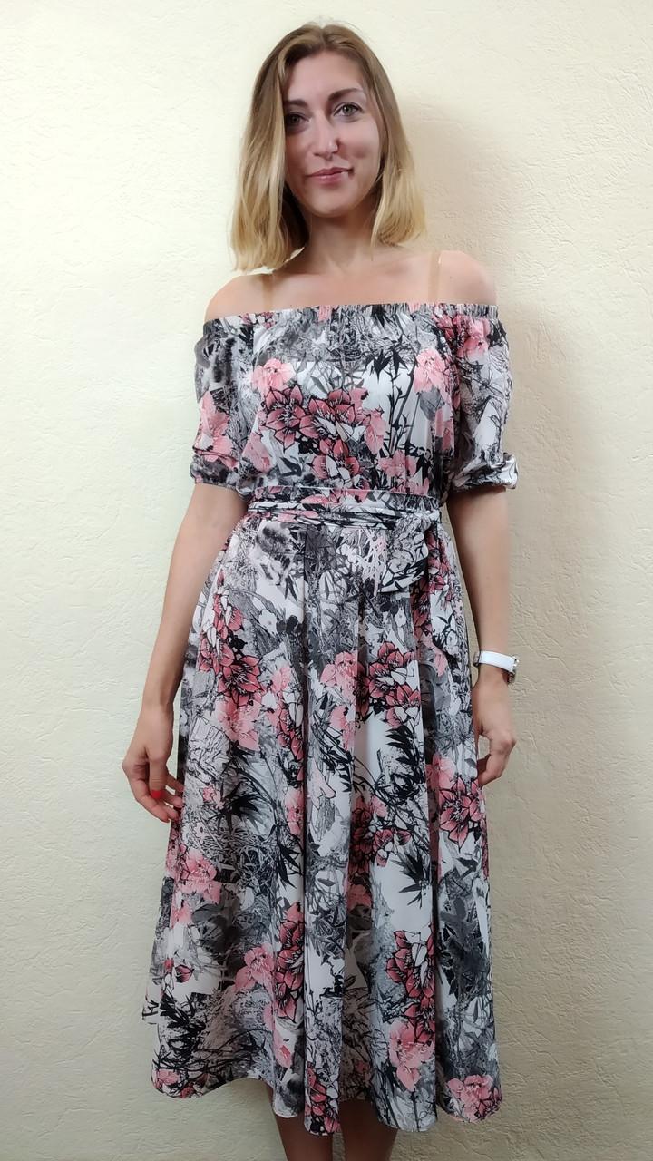 Платье миди-клёш,  с открытыми плечами П231