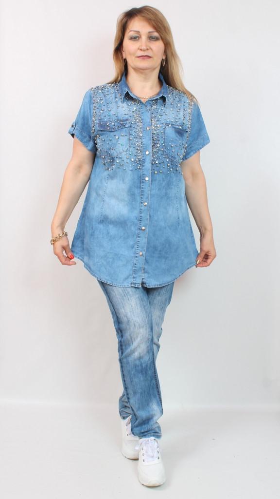 Джинсовая летняя женская рубашка с бусинами и стразами Турция, 50-56