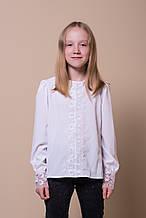 Красивая нарядная школьная блуза с красивым кружевом р. 116-146
