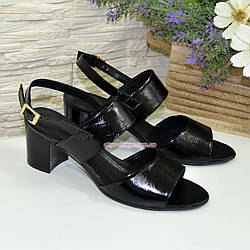 Босоножки женские лаковые черные на невысоком устойчивом каблуке. Срочный пошив