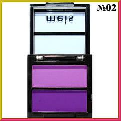 Тени Meis MS-0202 Матовые Компактные Двухцветные Сиреневые и Фиолетовые Тон 02