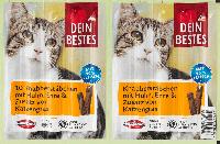 Закусочные палочки для кошек с курицей, уткой и добавлением кошачьей травы Dein Bestes, 50 гр., фото 1