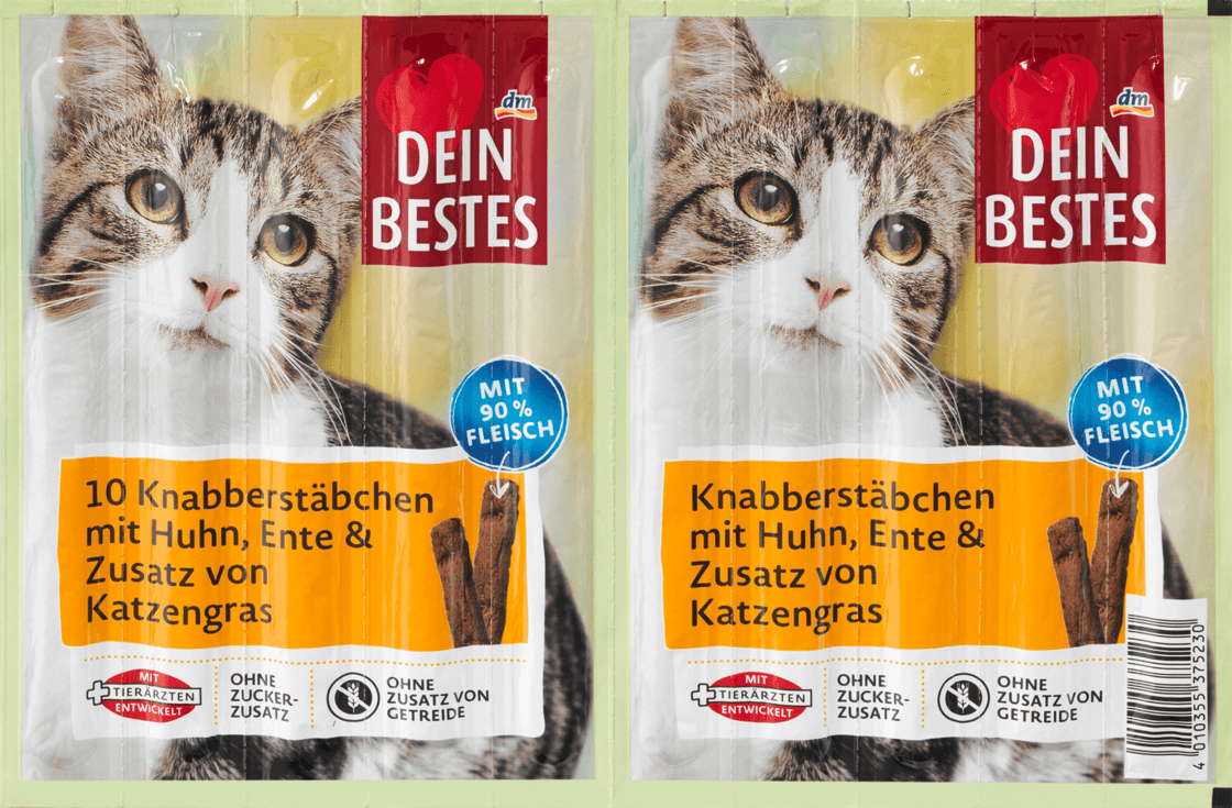 Закусочные палочки для кошек с курицей, уткой и добавлением кошачьей травы Dein Bestes, 50 гр.