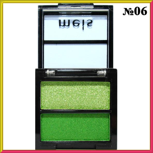 Тени для Век Meis MS-0202 Двухцветные Салатовые и Зеленые Атласные Компактные Тон 06