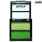 Тени для Век Meis MS-0202 Двухцветные Салатовые и Зеленые Атласные Компактные Тон 06, фото 4