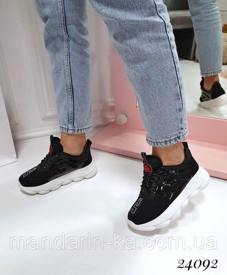 Кроссовки женские  текстильные черные   (реплика)