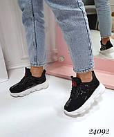Кроссовки женские  текстильные черные   (реплика), фото 1