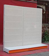 Торговый стеллаж (ряд) перфорированный «Колумб» 200х230 см., (Украина), белый, Б/у, фото 1