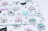 """Лоскут ткани """"Домашние питомцы, лапки, сердечки"""" на белом №1904, размер 36*76 см, фото 3"""
