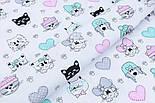 """Лоскут ткани """"Домашние питомцы, лапки, сердечки"""" на белом №1904, размер 36*76 см, фото 5"""