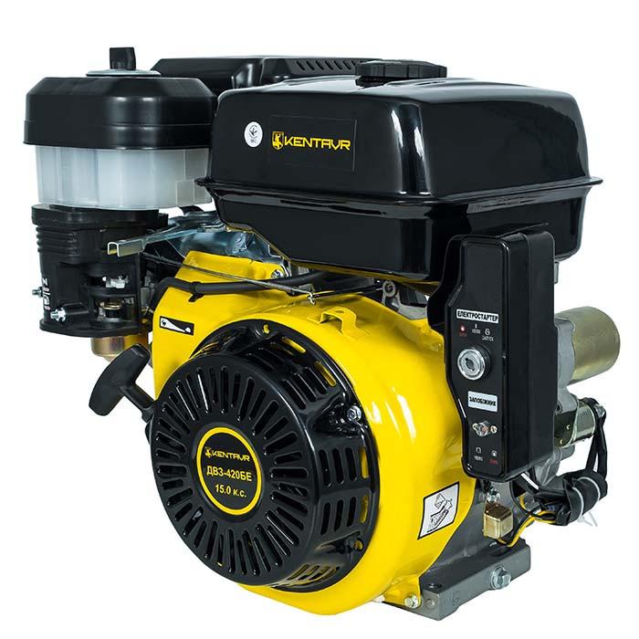 Двигатель бензиновый Кентавр ДВЗ-420БЕ (15 л.с., шпонка, вал 25мм, электростарт)