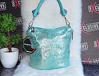 Красивая кожаная женская сумка с лазерным принтом змеи. Бирюзовая., фото 1