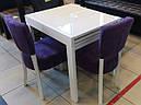 Стол обеденный Слайдер белый со стеклом(ультрабелый),100(+100)*82см, фото 2