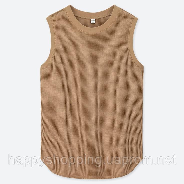 Женский стильный коричневый вафельный топ Uniqlo