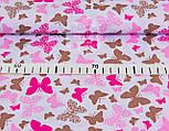 Лоскут ткани с маленькими розово-коричневыми бабочками на белом  фоне № 962а, размер 21*160 см, фото 5