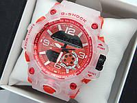 Новинка 2019! Круті спортивні годинник Casio G-Shock з прозорим корпусом і ремінцем - червоний циферблат, фото 1