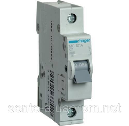 Автоматический выключатель 1 пол. 1А тип С 6КА МС101А HAGER