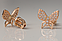 Золотые гвоздики бабочки с фианитами. Гп40976, фото 3