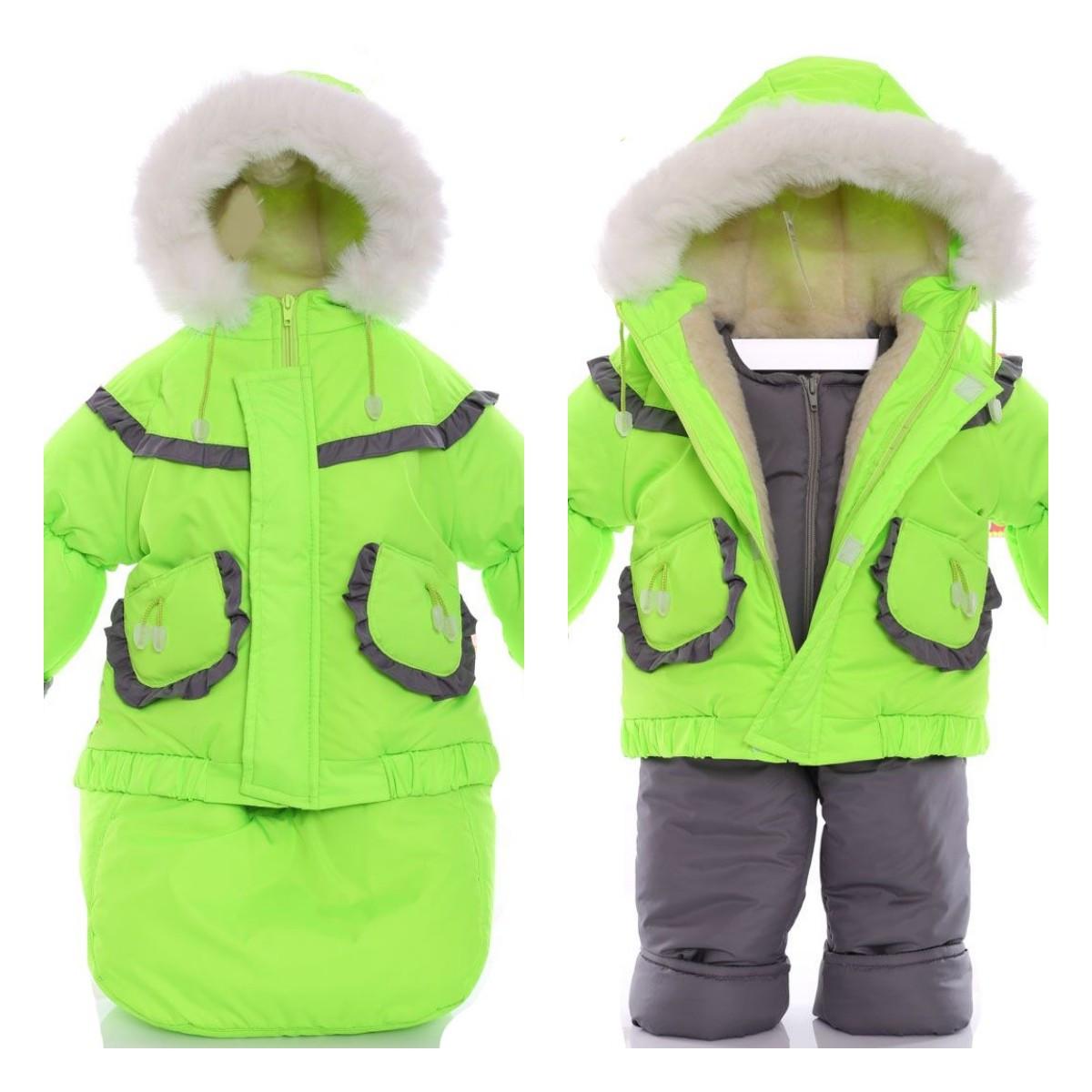 Детский костюм-тройка (конверт+курточка+полукомбинезон) ярко салатовый