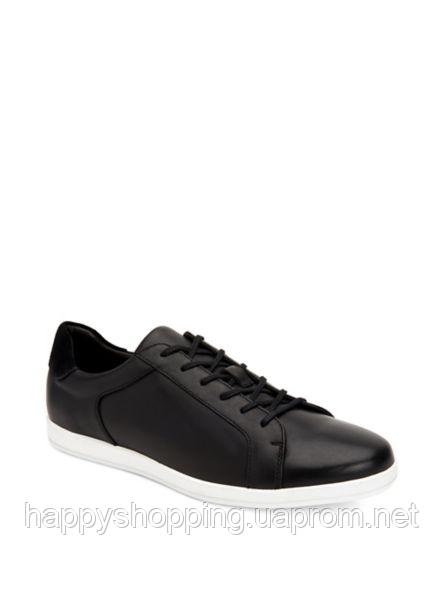 Мужские стильные черные кожаные кеды Calvin Klein
