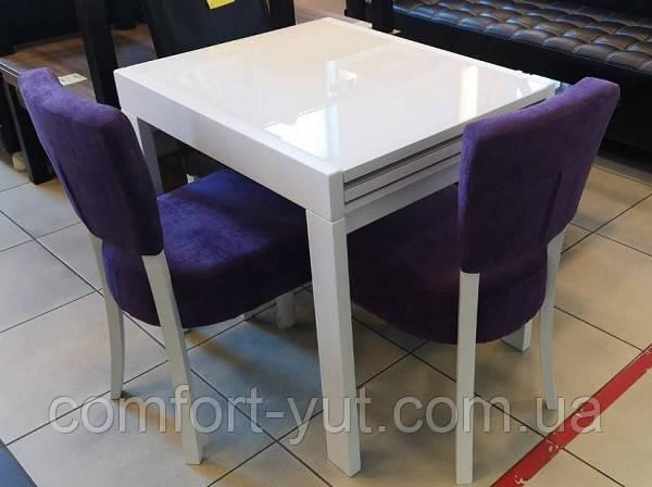 Стол обеденный Слайдер Белый со стеклом Ультрабелый, 81,5(+81,5)*67см