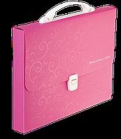 Портфель пластиковый Buromax Barocco А4/35 мм розовый