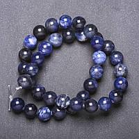 Бусины натуральный камень Содалит гладкий шарик d-10мм нитка L-38см (+-)