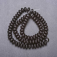 Бусины натуральный камень Шунгит гладкий рондель d-8х5мм нитка L-38см (+-)