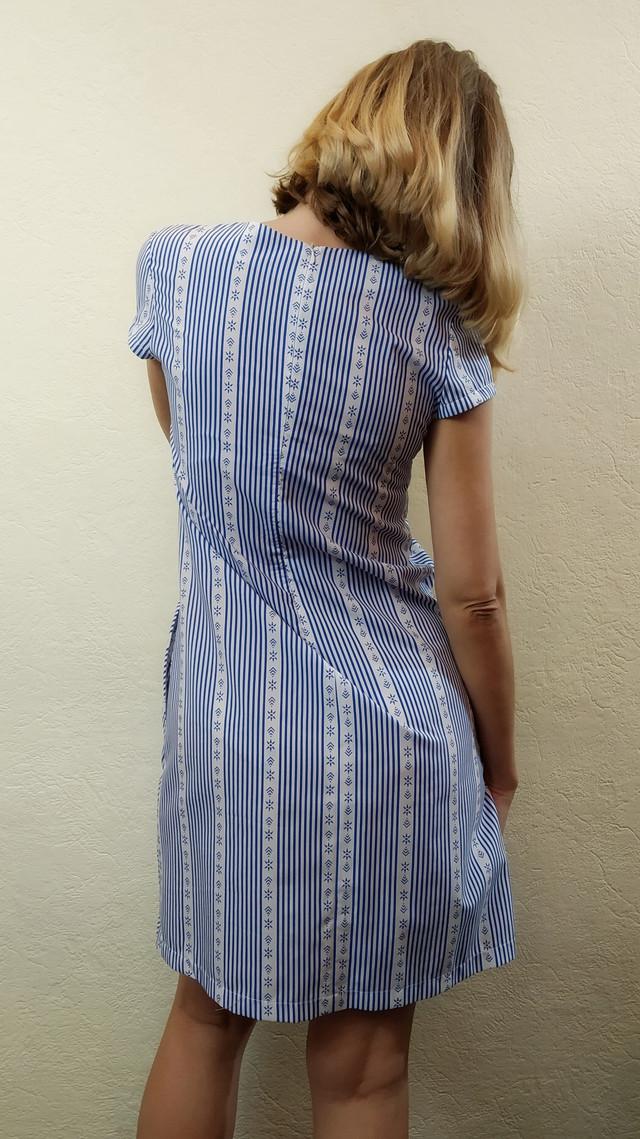 Летнее платье в полоску с карманами П224