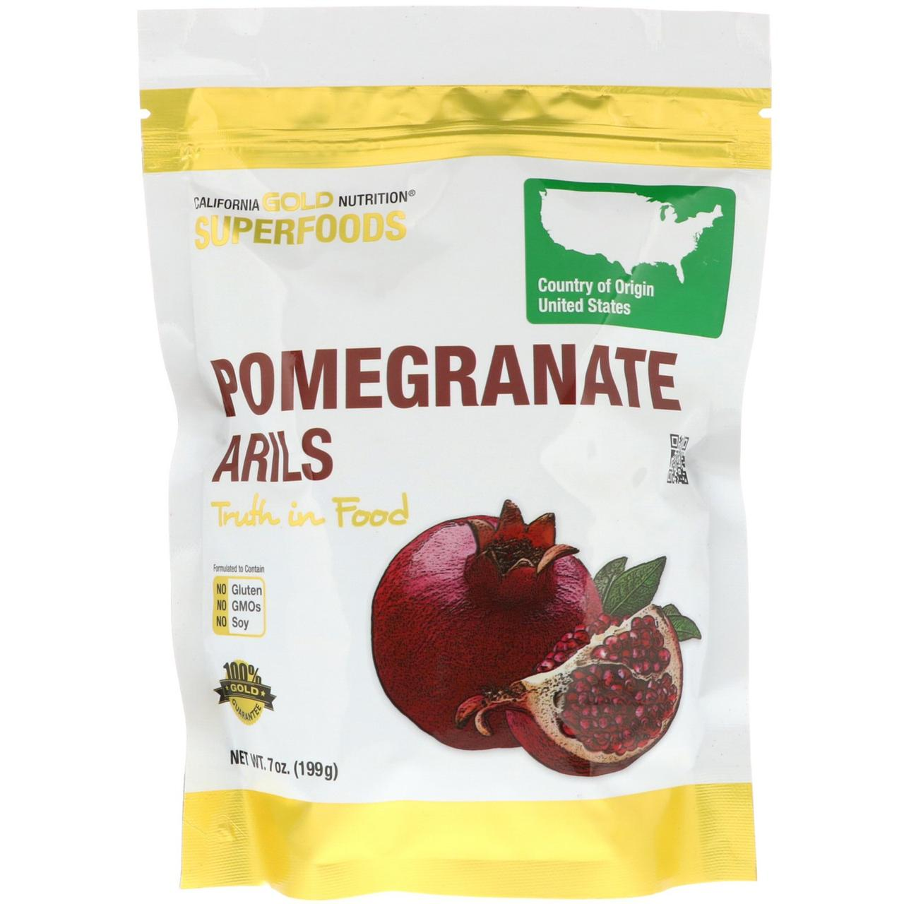 "Зерна граната California GOLD Nutrition, Superfoods ""Pomegranate Arils"" сушені (199 г)"