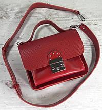 573-1 Сумка женская натуральная кожа, сумка красная кожаная Сумка красная кожаная сумка с широким ремнем, фото 2