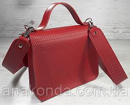 573-1 Сумка женская натуральная кожа, сумка красная кожаная Сумка красная кожаная сумка с широким ремнем, фото 3