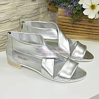 Кожаные женские босоножки римлянки, цвет серебро. Срочный пошив