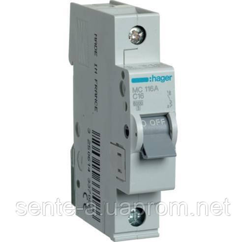 Автоматический выключатель 1 пол. 16А тип С 6КА МС116А HAGER