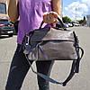 """Женская кожаная сумка-саквояж на длинной ручке  """"Аглая Light Gray"""""""