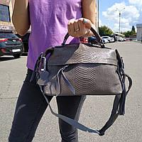 """Женская кожаная сумка-саквояж на длинной ручке  """"Аглая Light Gray"""", фото 1"""
