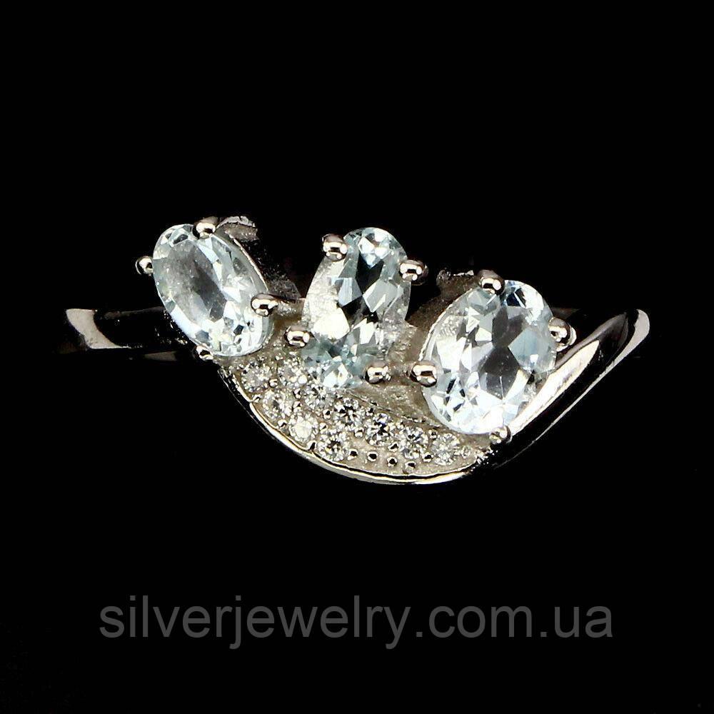 Серебряное кольцо с АКВАМАРИНОМ (натуральный!), серебро 925 пр. Размер 16,5