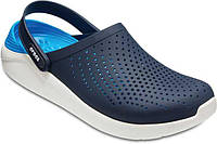 Кроксы мужские темно-синие с белой подошвой летние легкие шлепки Crocs LiteRide Кроксы
