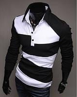Рубашка поло Stereotip Поло с длинным рукавом Stereotip рр2 XL Черно-белый SKU_рр2