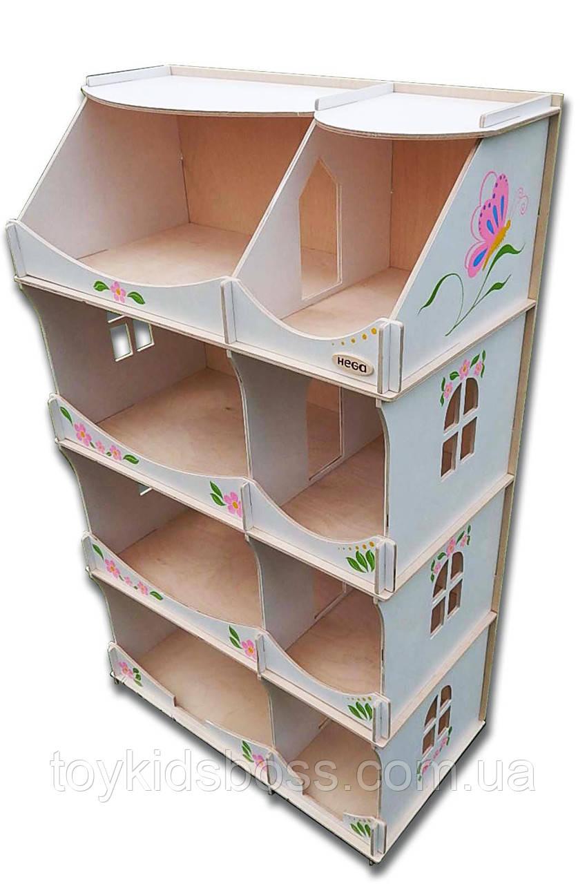 Кукольный домик-шкаф Hega с росписью белый (090A)