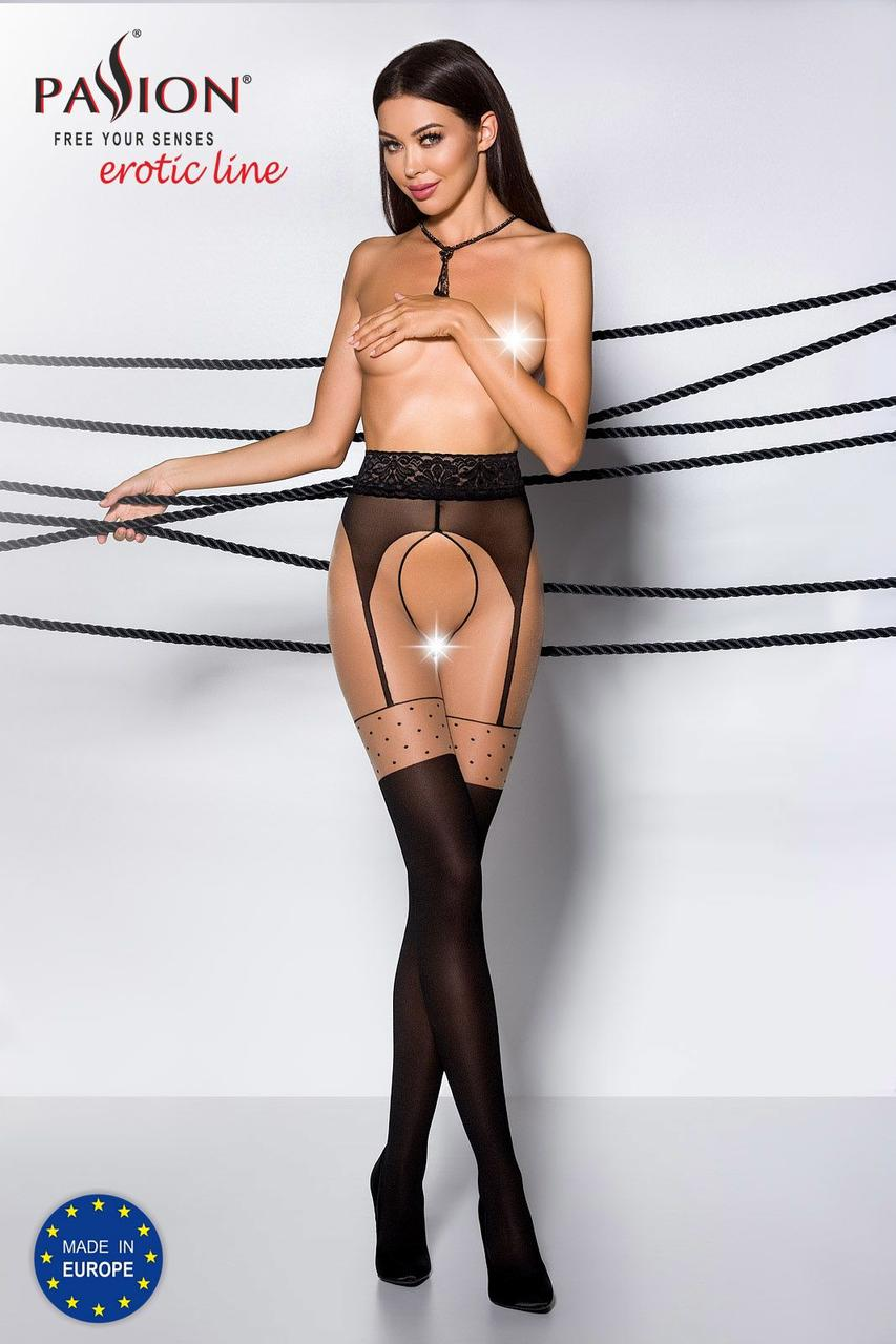 Эротические колготки TIOPEN 003 nero 1/2 (20/40 den) - Passion, имитация чулок и пояса