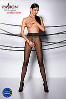 Эротические колготки TIOPEN 001 nero 3/4 (20 den) - Passion, с вырезом и кружевом на поясе