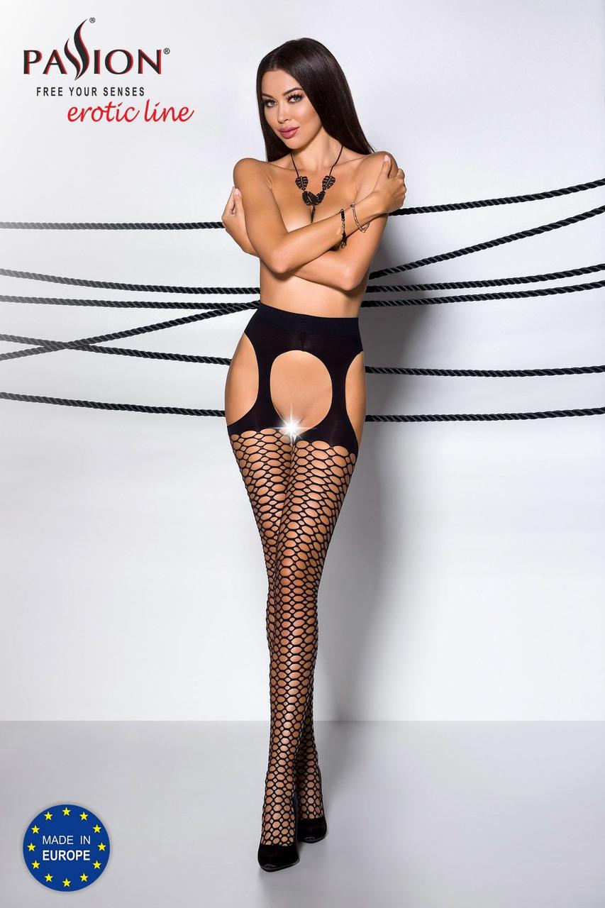Эротические колготки TIOPEN 004 nero 3/4 (fishnet 40 den) - Passion, имитация чулок и пояса