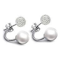 Серебряные серьги с камнями Swarovski в стиле Dior